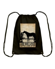 AND SHE LIVED HAPPILY EVER AFTER Drawstring Bag tile