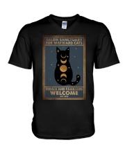 SALEM SANCTUARY FOR WAYWRD CATS V-Neck T-Shirt tile