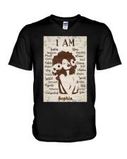 AFRO GIRL - CUSTOM NAME V-Neck T-Shirt tile