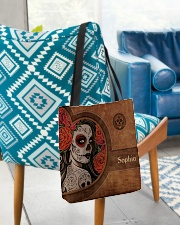 Skull Leather Pattern Print All-over Tote aos-all-over-tote-lifestyle-front-01