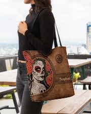 Skull Leather Pattern Print All-over Tote aos-all-over-tote-lifestyle-front-04
