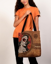 Skull Leather Pattern Print All-over Tote aos-all-over-tote-lifestyle-front-06