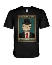 A READER LIVES A THOUSAND LIVES V-Neck T-Shirt tile