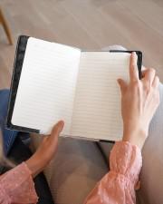 THE BOOK LOVER'S PLANNER - CUSTOM NAME Medium - Leather Notebook aos-medium-leather-notebook-lifestyle-front-14