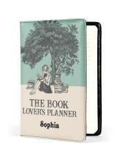 THE BOOK LOVER'S PLANNER - CUSTOM NAME Medium - Leather Notebook front