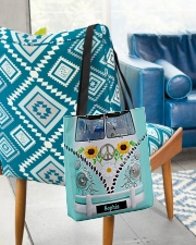 Hippie Bus Leather Pattern Print Custom Name All-over Tote aos-all-over-tote-lifestyle-front-01