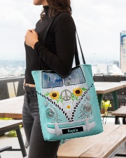 Hippie Bus Leather Pattern Print Custom Name All-over Tote aos-all-over-tote-lifestyle-front-04