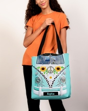 Hippie Bus Leather Pattern Print Custom Name All-over Tote aos-all-over-tote-lifestyle-front-06