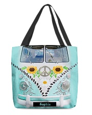 Hippie Bus Leather Pattern Print Custom Name All-over Tote back