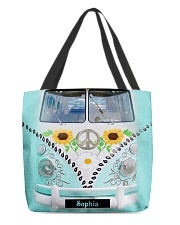 Hippie Bus Leather Pattern Print Custom Name All-over Tote front