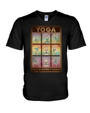 YOGA BECAUSE MURDER IS WRONG V-Neck T-Shirt tile