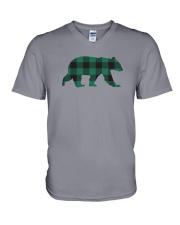Green Flannel Bear V-Neck T-Shirt thumbnail