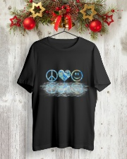 PEACE LOVE SMILE Classic T-Shirt lifestyle-holiday-crewneck-front-2