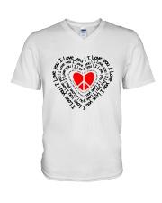 PEACE SIGN HEART V-Neck T-Shirt thumbnail