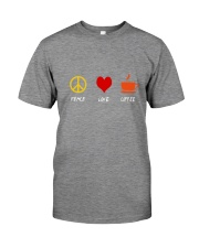 PEACE LOVE COFFE Premium Fit Mens Tee front