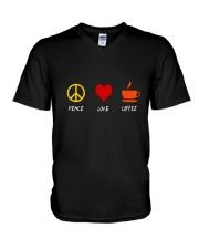 PEACE LOVE COFFE V-Neck T-Shirt thumbnail