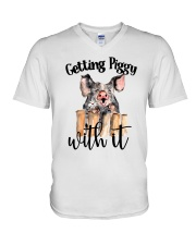 GETTING PIGGY WITH IT V-Neck T-Shirt thumbnail