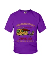 Camping lady Youth T-Shirt front