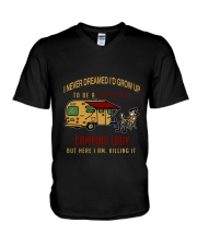 Camping lady V-Neck T-Shirt thumbnail