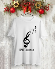 PEACE LOVE MUSIC Classic T-Shirt lifestyle-holiday-crewneck-front-2