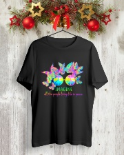 ALL THE PEOPLE LIVING LIFE IN PEACE Classic T-Shirt lifestyle-holiday-crewneck-front-2