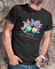 ALL THE PEOPLE LIVING LIFE IN PEACE Classic T-Shirt lifestyle-mens-crewneck-front-4