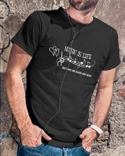 MUSIC IS LIFE THAT'S WHY OUR HEARTS HAVE BEATS Classic T-Shirt lifestyle-mens-crewneck-front-4