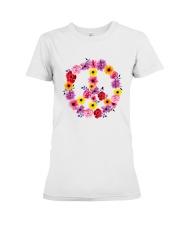 PEACE SIGN FLOWER Premium Fit Ladies Tee thumbnail