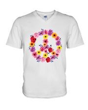 PEACE SIGN FLOWER V-Neck T-Shirt thumbnail