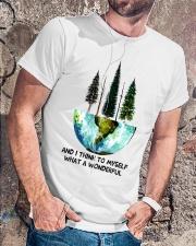 Myself What A Wonderful World Classic T-Shirt lifestyle-mens-crewneck-front-4