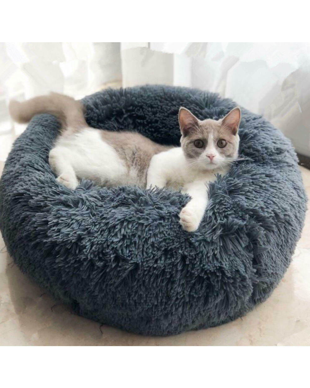 Round Soft Cat Beds House Marshmallow Cat Bed 70cm 1