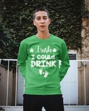 Irish I Could Drink St Patricks Pregnancy Announce Crewneck Sweatshirt apparel-crewneck-sweatshirt-lifestyle-01