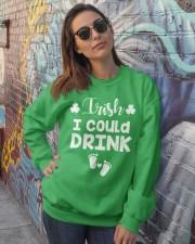 Irish I Could Drink St Patricks Pregnancy Announce Crewneck Sweatshirt lifestyle-unisex-sweatshirt-front-3