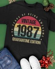 Vintage 1987 Quarantine Edition Birthday Classic T-Shirt apparel-classic-tshirt-lifestyle-back-69