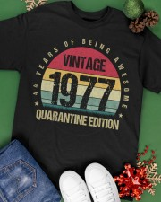 Vintage 1977 Quarantine Edition Birthday Classic T-Shirt apparel-classic-tshirt-lifestyle-back-69