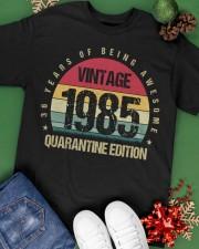 Vintage 1985 Quarantine Edition Birthday Classic T-Shirt apparel-classic-tshirt-lifestyle-back-69