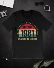Vintage 1981 Quarantine Edition Birthday Classic T-Shirt lifestyle-mens-crewneck-front-16