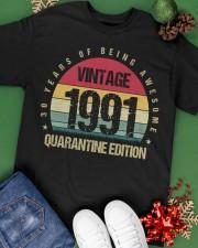 Vintage 1991 Quarantine Edition Birthday Classic T-Shirt apparel-classic-tshirt-lifestyle-back-69