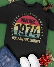 Vintage 1974 Quarantine Edition Birthday Classic T-Shirt apparel-classic-tshirt-lifestyle-back-69
