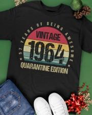 Vintage 1964 Quarantine Edition Birthday Classic T-Shirt apparel-classic-tshirt-lifestyle-back-69