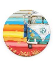 Hippie Vw Bus Circle Ornament (Porcelain) tile