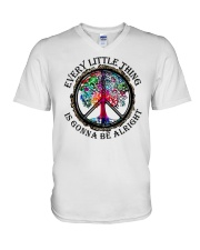 Every little thing gonna be all right V-Neck T-Shirt tile