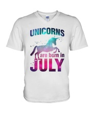 Unicorns Are Born in July T-Shirt Gift For July Qu V-Neck T-Shirt thumbnail