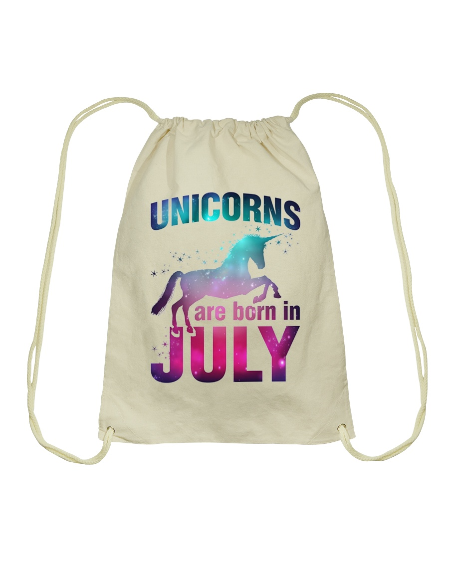 Unicorns Are Born in July T-Shirt Gift For July Qu Drawstring Bag