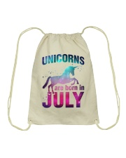 Unicorns Are Born in July T-Shirt Gift For July Qu Drawstring Bag front