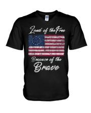 Patriotic Betsy Ross American Flag Shirt with 13 S V-Neck T-Shirt thumbnail