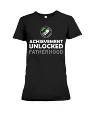 Mens First Time Dad Achievement Unlocked Fatherho Premium Fit Ladies Tee thumbnail