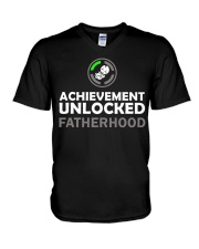 Mens First Time Dad Achievement Unlocked Fatherho V-Neck T-Shirt thumbnail