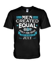 All Men Are Created Equal Born In July Birthday  V-Neck T-Shirt thumbnail