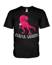 Womens Mama-saurus T-Shirt for Moms Pink Dinosaur V-Neck T-Shirt thumbnail